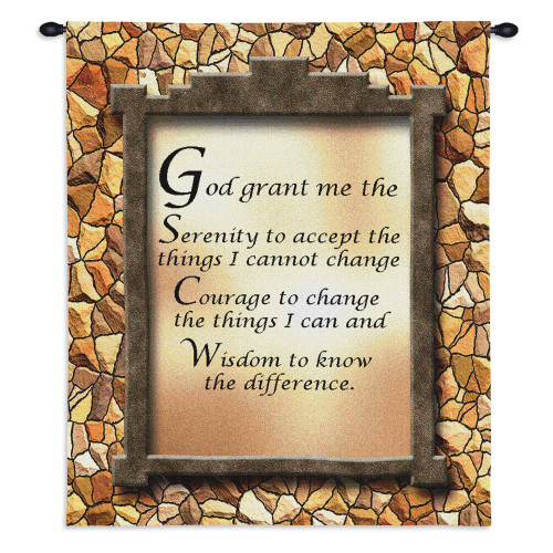 Pure Country Weavers - God Grant Me The Serenity Prayer Hand Finished European Style Jacquard Woven Wall Tapestry. USA Size 26x34 Wall Tapestry