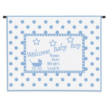 Welcome Baby Blue | Woven Tapestry Wall Art Hanging | Whimsical Newborn Commemoration with Polka Dots | 100% Cotton USA Size 34x26 Wall Tapestry