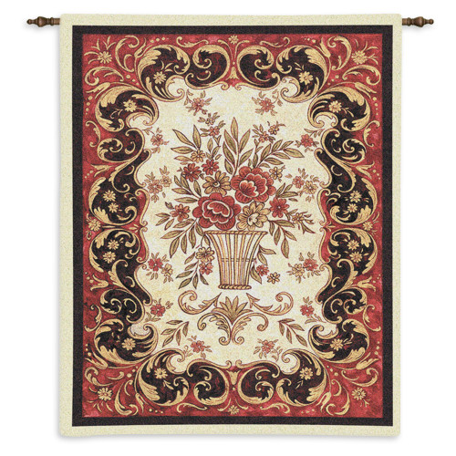 Pure Country Weavers - Red Tapestry Hand Finished European Style Jacquard Woven Wall Tapestry. USA Size 33x26 Wall Tapestry