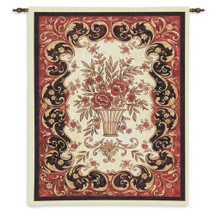 Red Tapestry By | Woven Tapestry Wall Art Hanging | Red Flowers In Decorative Pot With Filigree Border | 100% Cotton USA 33X26 Wall Tapestry