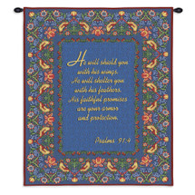 Psalms 91:4 | Woven Tapestry Wall Art Hanging | Inspirational Biblical Scripture on Blue Background | 100% Cotton USA Size 34x26 Wall Tapestry
