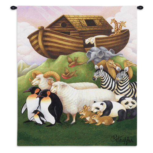 Pure Country Weavers - Exiting The Ark Hand Finished European Style Jacquard Woven Wall Tapestry. USA Size 32x26 Wall Tapestry