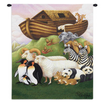 Exiting The Ark By Stephanie Stouffer | Woven Tapestry Wall Art Hanging | Animals Child Children Biblical Religious Artwork | 100% Cotton USA 32X26 Wall Tapestry