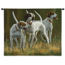 First Light Hounds by Bob Christie | Woven Tapestry Wall Art Hanging | Lifelike English Pointer Nature Scene | 100% Cotton USA Size 34x26 Wall Tapestry