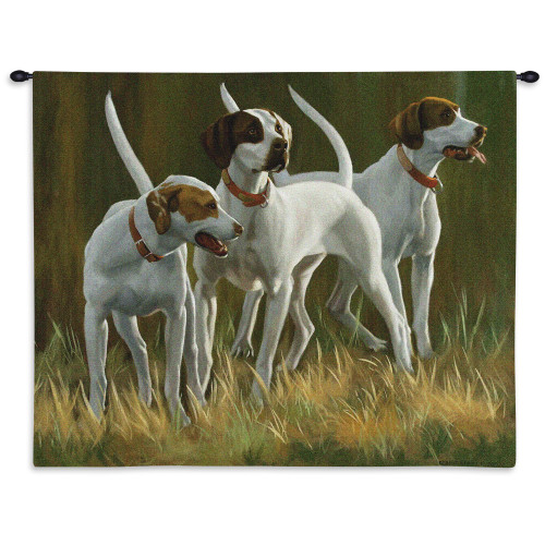 Pure Country Weavers - First Light Hounds English Pointer Hand Finished European Style Jacquard Woven Wall Tapestry. USA Size 26x34 Wall Tapestry