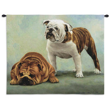 I Said I Was Sorry by Bob Christie | Woven Tapestry Wall Art Hanging | Apologetic Bulldogs - Dog Lover's Decor | 100% Cotton USA Size 34x26 Wall Tapestry