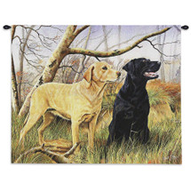 Pure Country Weavers - Labrador Retrievers Hand Finished European Style Jacquard Woven Wall Tapestry. USA Size 26x34 Wall Tapestry