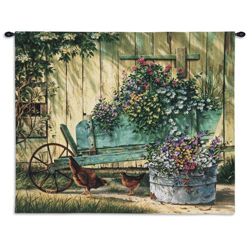 Spring Social By Michael Humphries - Woven Tapestry Wall Art Hanging For Home Living Room & Office Decor - Barnyard Farm Country Chickens With Floral Decor - 100% Cotton - USA 26X32 Wall Tapestry