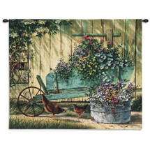 Spring Social By Michael Humphries | Woven Tapestry Wall Art Hanging | Barnyard Farm Country  | 100% Cotton USA Size 26X32 Wall Tapestry