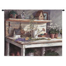 Simple Pleasure - Woven Tapestry Wall Art Hanging For Home Living Room & Office Decor - Hanging Beige Floral Birdhouse Watering Can Rustic Garden - 100% Cotton - USA 26X32 Wall Tapestry