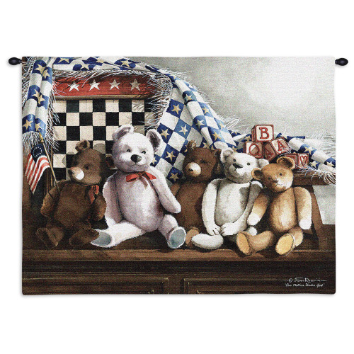 One Nation Under God | Woven Tapestry Wall Art Hanging | Patriotic American Children's Room Stuffed Animals | 100% Cotton USA Size 34x26 Wall Tapestry