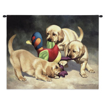 I've Got It by Bob Christie | Woven Tapestry Wall Art Hanging | Labrador Puppies Playing with Toy | 100% Cotton USA Size 34x26 Wall Tapestry