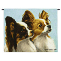 Papillon by Bob Christie | Woven Tapestry Wall Art Hanging | Cute Toy Spaniel Duo Close Up | 100% Cotton USA Size 34x26 Wall Tapestry