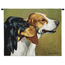 Coonhound by Bob Christie | Woven Tapestry Wall Art Hanging | Focused Hound Duo Profile | 100% Cotton USA Size 34x26 Wall Tapestry
