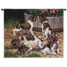 Common Scents by Bob Christie | Woven Tapestry Wall Art Hanging | Mischievous Puppies Exploring Nature | 100% Cotton USA Size 34x26 Wall Tapestry