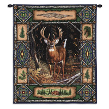 Deer Lodge - A Rustic Wildlife Cabin Or Den Decor - Woven Tapestry Wall Art Hanging - Nature Landscape Tribal Motif Border - 100% Cotton - USA Wall Tapestry