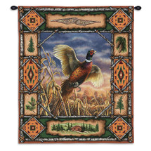 Pheasant Lodge | Woven Tapestry Wall Art Hanging | Rustic Hunting Cabin Decor | 100% Cotton USA Size 33x26 Wall Tapestry