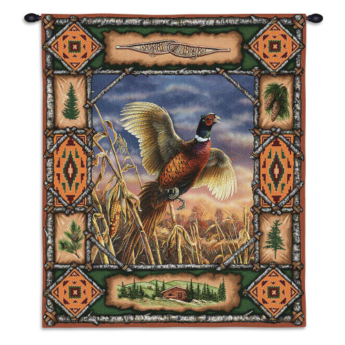 Pure Country Weavers - Pheasant Lodge Hand Finished European Style Jacquard Woven Wall Tapestry. USA Size 33x26 Wall Tapestry