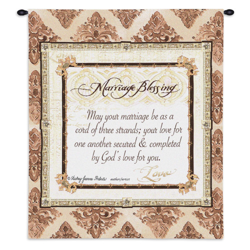 Pure Country Weavers - Your Marriage Blessing Hand Finished European Style Jacquard Woven Wall Tapestry. USA Size 32x26 Wall Tapestry
