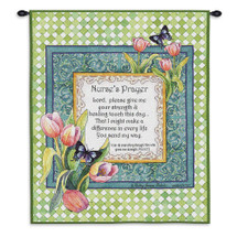 Nurse's Prayer | Woven Tapestry Wall Art Hanging | Philippians 4:13 on Bright Floral Frame Christian Religious Artwork | 100% Cotton USA Size 34x26 Wall Tapestry