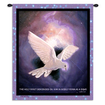 Holy Spirit | Woven Tapestry Wall Art Hanging | Symbol Peace With Beautiful White Dove Flies Night Sky Purple Twinkling Stars Bible Phrase | 100% Cotton USA Wall Tapestry