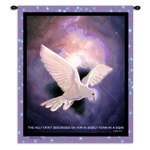 Pure Country Weavers - Holy Spirit White Dove Luke 3:22 Hand Finished European Style Jacquard Woven Wall Tapestry. USA Size 26x34 Wall Tapestry