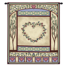 Love Quilt II | Woven Tapestry Wall Art Hanging | Botanical Embroidery Pattern Hearts | 100% Cotton USA Size 34x26 Wall Tapestry