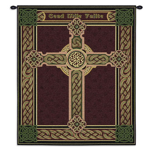 Pure Country Weavers - Celtic Words Hand Finished European Style Jacquard Woven Wall Tapestry. USA Size 34x27 Wall Tapestry