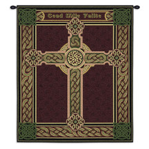 Celtic Words Irish Cross Circle Medieval Christian Knot Design - Woven Tapestry Wall Art Hanging For Home Living Room & Office Decor - 100% Cotton - USA Wall Tapestry