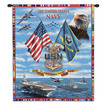 Pure Country Weavers - Navy Chiefs Hand Finished European Style Jacquard Woven Wall Tapestry. USA Size 34x26 Wall Tapestry