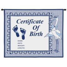 Birth Certificate Blue | Woven Tapestry Wall Art Hanging | Baby Birth Blue Embroidery with Stork | 100% Cotton USA Size 33x26 Wall Tapestry