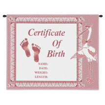 Birth Certificate Pink | Woven Tapestry Wall Art Hanging | Baby Birth Pink Embroidery with Stork | 100% Cotton USA Size 33x26 Wall Tapestry