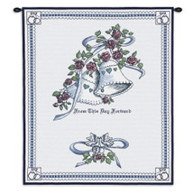 Pure Country Weavers | Matrimony Blue Wedding Hand Finished European Style Jacquard Woven Wall Tapestry. USA 26X33 Wall Tapestry