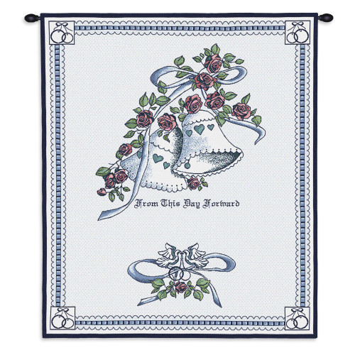 Matrimony Blue Wedding | Woven Tapestry Wall Art Hanging | Bells Adorned with Roses - Lovely Wedding Gift | 100% Cotton USA Size 33x26 Wall Tapestry