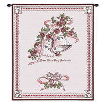Pure Country Weavers | Matrimony Pink Wedding Hand Finished European Style Jacquard Woven Wall Tapestry. USA 26X33 Wall Tapestry