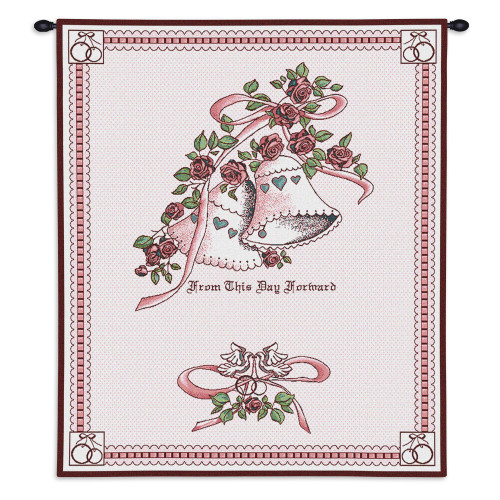 Pure Country Weavers - Matrimony Pink Wedding Hand Finished European Style Jacquard Woven Wall Tapestry. USA Size 26x33 Wall Tapestry