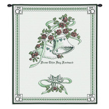 Matrimony Green Wedding | Woven Tapestry Wall Art Hanging | Bells Adorned with Roses - Lovely Wedding Gift | 100% Cotton USA Size 33x26 Wall Tapestry
