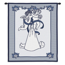 New Angel and Baby Blue | Woven Tapestry Wall Art Hanging | Baby Announcement Cherub Embroidery in Blue | 100% Cotton USA Size 33x26 Wall Tapestry