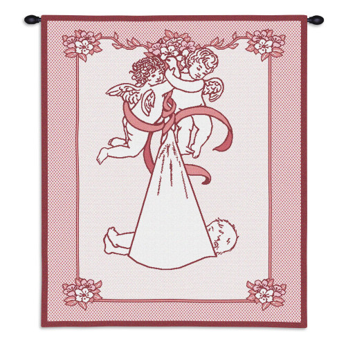 Pure Country Weavers - New Guardian Angel and Baby Pink Hand Finished European Style Jacquard Woven Wall Tapestry. USA Size 33x26 Wall Tapestry