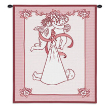 New Angel and Baby Pink | Woven Tapestry Wall Art Hanging | Lovely Guardian Angels Delivering Newborn | 100% Cotton USA Size 33x26 Wall Tapestry