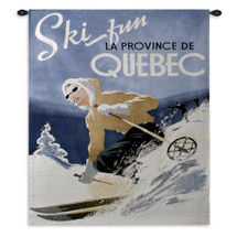 Ski Quebec By | Woven Tapestry Wall Art Hanging | Nostalgic Blue Ski Canada Hanging Whimsy Poster Art| 100% Cotton USA 32X27 Wall Tapestry