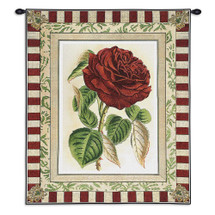 Red Rose I | Woven Tapestry Wall Art Hanging | Floral Still Life with Striped Border | 100% Cotton USA Size 33x26 Wall Tapestry