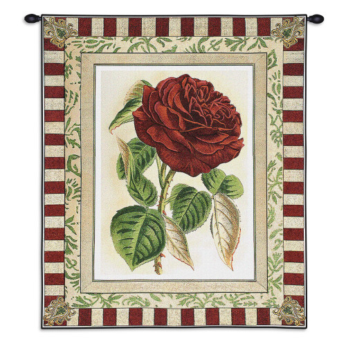Pure Country Weavers - Red Rose I Hand Finished European Style Jacquard Woven Wall Tapestry. USA Size 33x26 Wall Tapestry