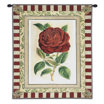 Red Rose II | Woven Tapestry Wall Art Hanging | Floral Still Life with Striped Border | 100% Cotton USA Size 33x26 Wall Tapestry