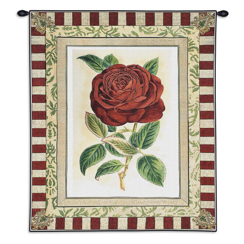 Pure Country Weavers - Red Rose II Hand Finished European Style Jacquard Woven Wall Tapestry. USA Size 33x26 Wall Tapestry