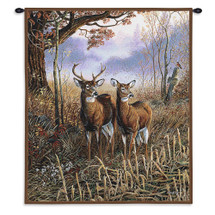 Country Treasures | Woven Tapestry Wall Art Hanging | Deer on Field Cabin Lodge Wildlife Artwork | 100% Cotton USA Size 34x26 Wall Tapestry