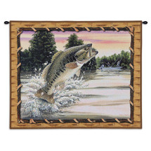 Bass Attack | Woven Tapestry Wall Art Hanging | Bass Outdoorsman Fishing Cabin Lodge Decor | 100% Cotton USA Size 34x26 Wall Tapestry