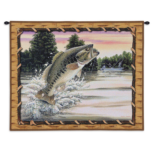 Pure Country Weavers - Bass Attack Hand Finished European Style Jacquard Woven Wall Tapestry. USA Size 26x32 Wall Tapestry