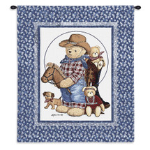 Curly Bears | Woven Tapestry Wall Art Hanging | Adorable Wild West Stuffed Animals | 100% Cotton USA Size 31x26 Wall Tapestry