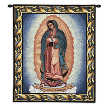 Our Lady Of Guadalupe By Virgen De Guadalupe Juan Diego | Woven Tapestry Wall Art Hanging | Mother Mary Inspirational Religious Catholic | 100% Cotton USA 32X26 Wall Tapestry